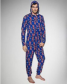 Doctor Who Union Jack Hooded Adult One Piece Pajamas