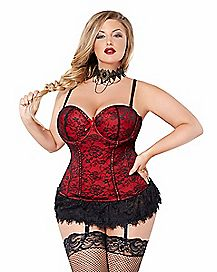 Plus Size Victorian Lace Bustier and Thong Set - Red