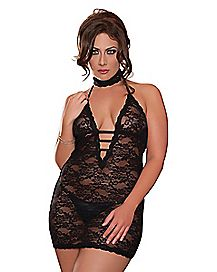 Midnight Affair Plus Size Lace Chemise Choker and Thong Set