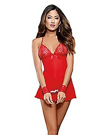 Naughty Secrets Lace Babydoll with Wrist Restraints