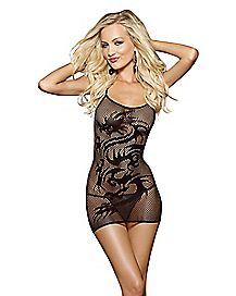 Fishnet Dragon Chemise and G-string