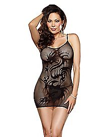Plus Size Fishnet Dragon Chemise and G-String Panties