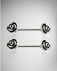 Rose Tipped Barbell Nipple Rings - 14 Gauge