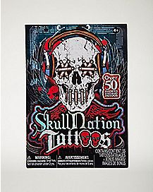 Skull Nation Tribal Temporary Tattoos