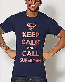 Keep Calm and Call Superman T Shirt - DC Comics