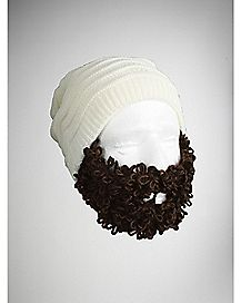 Brown Curly Bearded Beanie