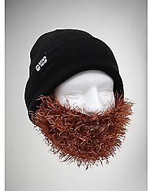 Bushy Brown Beard with Black Beanie
