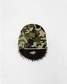 Bushy Black Beard Camo Beanie