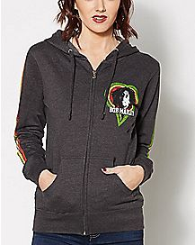 Bob Marley One Love Smile Junior Fitted Hoodie