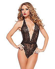 Floral Lace Teddy - Black