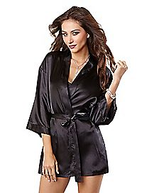 Black Satin Chemise and Robe Set