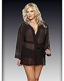 Plus Size Chiffon Robe and Panty Set