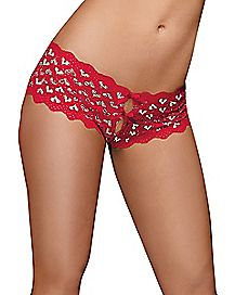 Heart Back Crotchless Boyshort Panty