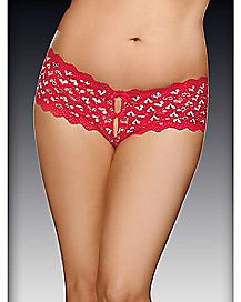 Plus Size Heart Back Crotchless Boyshort Panty