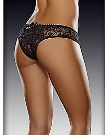 Ruffle Back Lace Crotchless Panties - Black