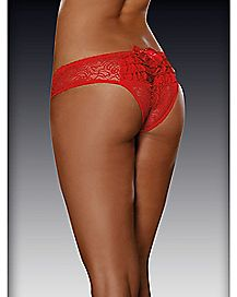 Ruffle Back Lace Crotchless Panties - Red