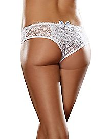 Ruffle Back Lace Crotchless Panty - White