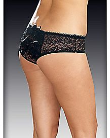 Plus Size Ruffle Back Lace Crotchless Panties - Black