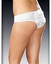 Plus Size Ruffle Back Lace Crotchless Panty - White