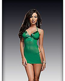 Mesh Sequin Chemise and Thong