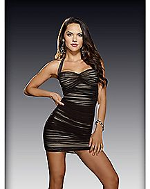 Halter Sweetheart Mesh Dress