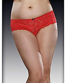 Plus Size Cheeky Crotchless Boyshort Panty - Red