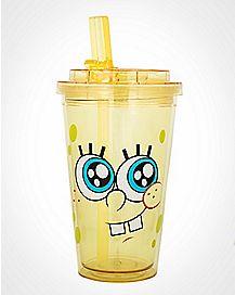 Spongebob Cup with Flip Top Straw 16 oz