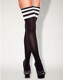Hustler Striped Sock Thigh High Stockings
