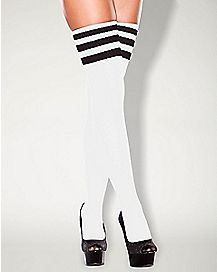 Hustler Striped Thigh High Socks