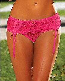 Hustler Lace G-String with Garters