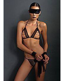 Open Cup Bra and G-string Set with Mask and Restraints