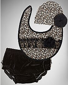 Leopard Hat, Bib and Diaper Cover Set