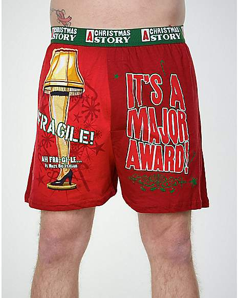 These hysterical boxers are the perfect stocking stuffer! Featuring many favorite phrases from the movie along with Ralphie's face, A Christmas Story, they are sure to bring a smile to his face.