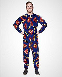 Superman Men's One Piece Pajamas
