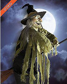 5.5 Ft Flying Witch Animatronics - Decorations