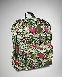 Canvas Tropical Print Backpack