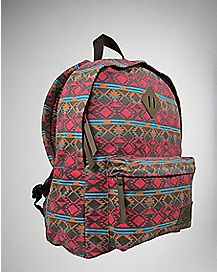 Canvas Tribal Print Backpack