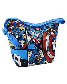 Blue Comic Captain America Messenger Bag
