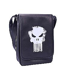 Black Faux Leather Punisher Logo Messenger Bag
