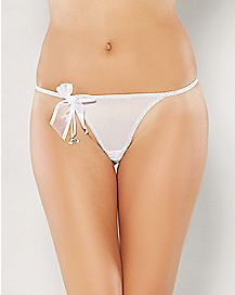 Bow G-String Panties with Shimmer Wedding Bells