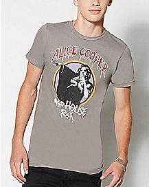 Charcoal Madhouse Rock Alice Cooper T Shirt