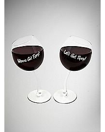 Tipsy Wine Glasses Set