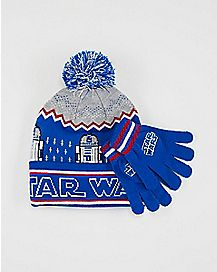 Toddler R2D2 Star Wars Pom Beanie Hat & Glove Set