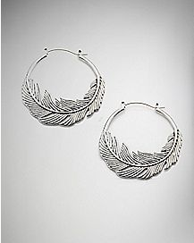 20 Gauge Feather Hoop Earrings