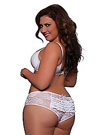 Plus Size Ruffle Back Lace Crotchless Boyshort Panties - White