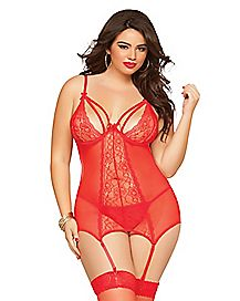 Double Dare Plus Size Bustier and Thong Set
