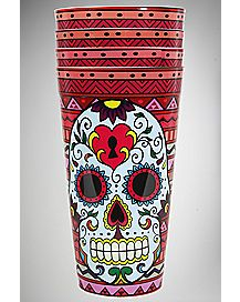 Sugar Skull Tribal Cups Set 22 oz