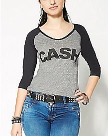 Cropped Johnny Cash Raglan T Shirt