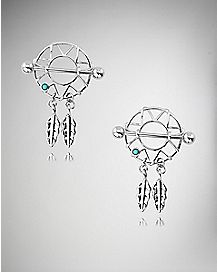 Dreamcatcher Dangle Nipple Shields - 14 Gauge