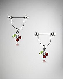 Red Cherry Dangle Nipple Shields - 14 Gauge